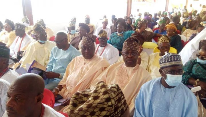 Cross section of guests at the installation ceremony of Oladipupo and Adenike Adebutu as Lisa Aje Egba and Erelu Lisa Aje Egba at Ake Palace