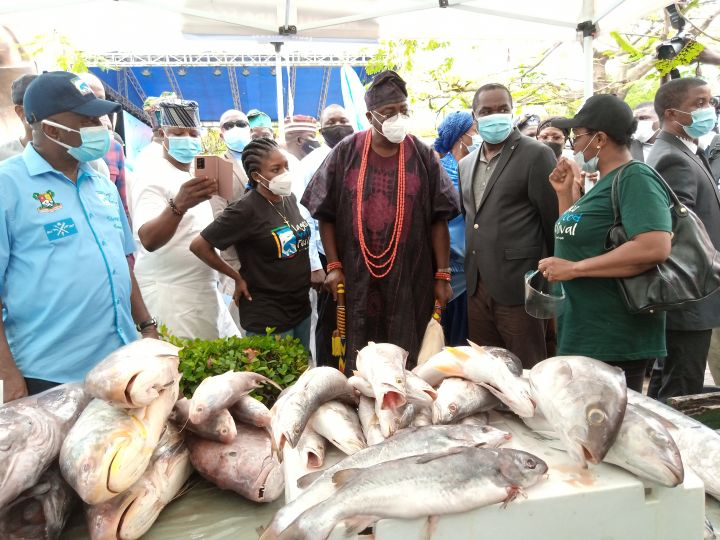 Deputy Governor of Lagos, Dr Obafemi Hamzat with the State Commissioner for Agriculture, Ms Abisola Olusanya and other dignatories at Y2020 Edition of the Lagos Seafood Festival held at the Muri Okunola Park, Victoria Island