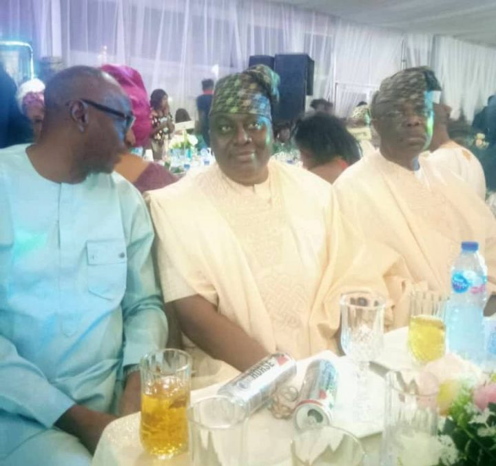 From right - Hon Eddy Olafeso, Southwest PDP Vice Chairman, Revd Bunmi Jenyo, Southwest PDP Secretary and an unidentified guest