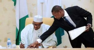 President Muhammadu Buhari and Minister of Justice and Anthony General of the Federation, Abubakar Malami