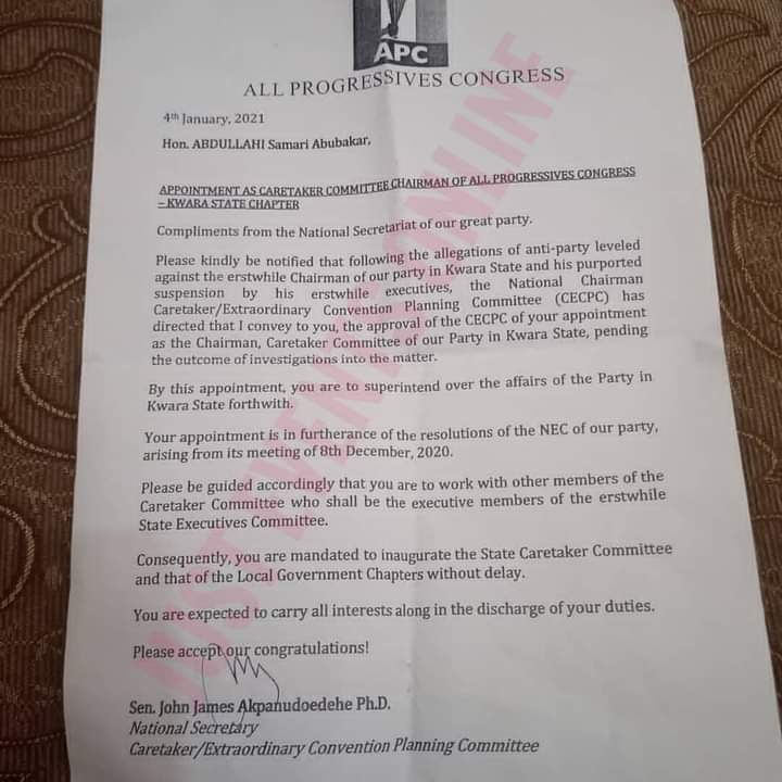 Kwara APC Appointment Letter