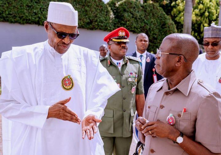 Muhammadu Buhari and Adams Oshiomhole
