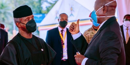 Vice President Yemi Osinbajo at the inauguration of re-elected Ugandan President, Yoweri Museveni