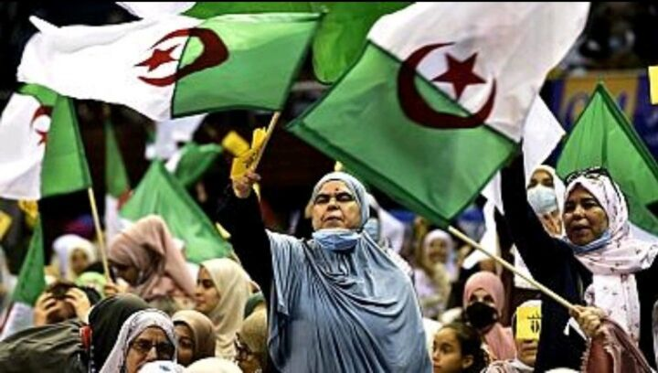Supporters of Algeria's Movement of Society for Peace (MSP) political party attend a campaign rally in the capital Algiers