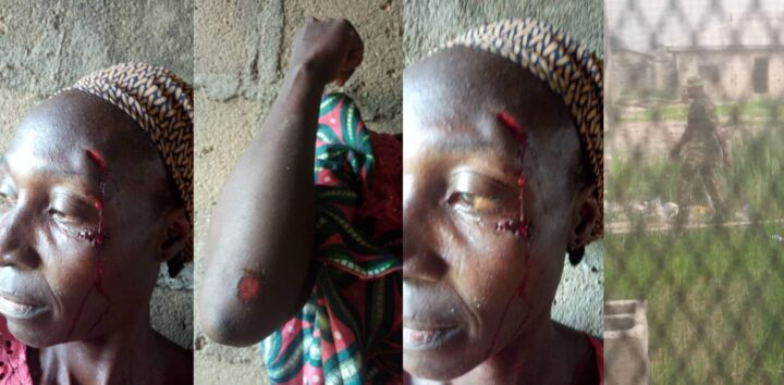 An harmless woman, Mrs. Funmilayo Ibikunle-Akanni allegely attacked by Soldiers at Agboyi-Ketu area in April 2021