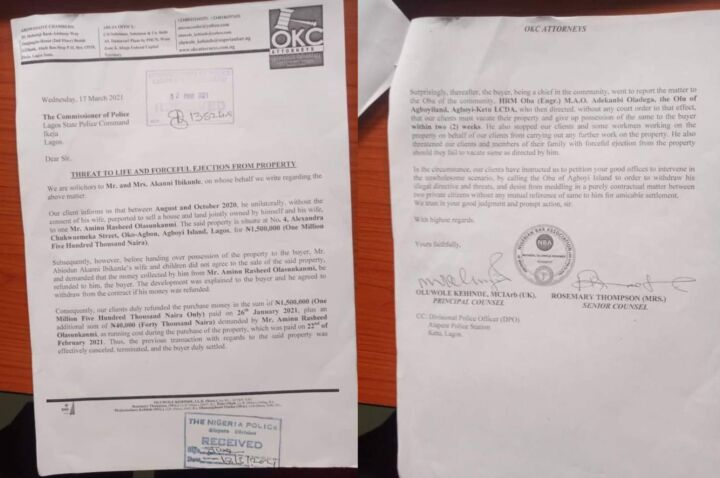 OKC Attorneys' Letter to Lagos Police Commissioner over Threat to Life and Falseful Ejection from Property