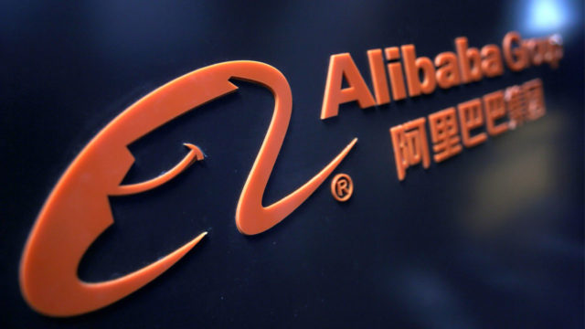 A logo of Alibaba Group is seen at an exhibition during the World Intelligence Congress in Tianjin, China May 16, 2019. REUTERS/Jason Lee