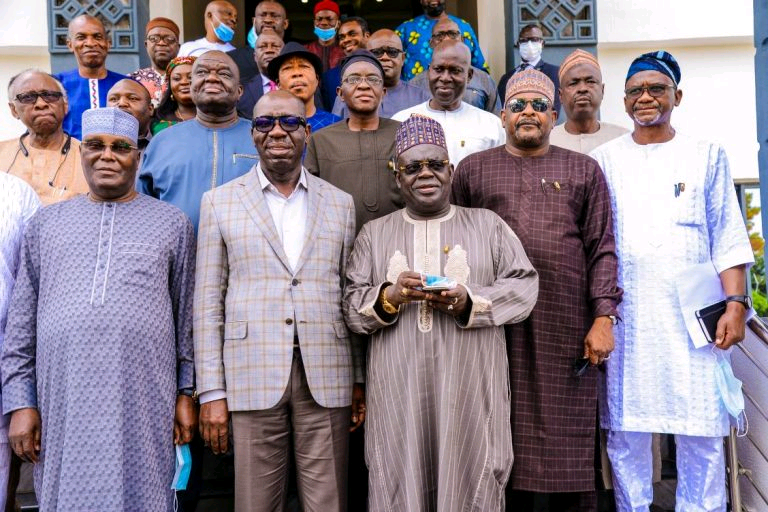 First from left Atiku, Obaseki and PDP chieftains in Benin on Monday