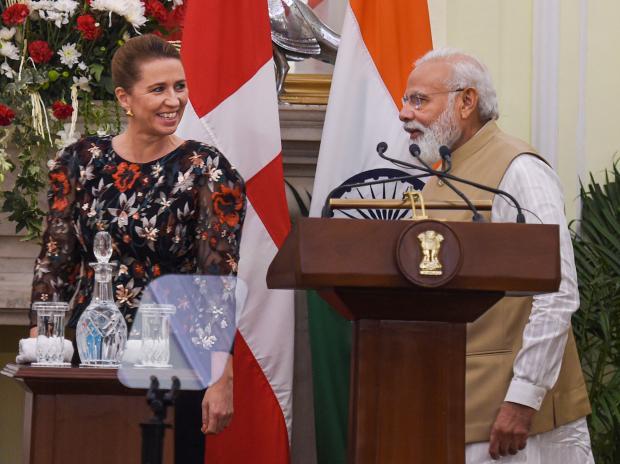 Prime Minister Narendra Modi with Denmark's Prime Minister Mette Frederiksen